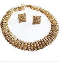 Rhinestone Choker Necklace Earrings Austrian Crystal