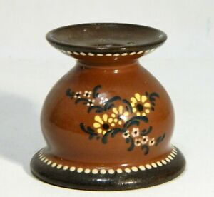 Candle Holder Pottery Hand Painted Flower Brown Black Vintage