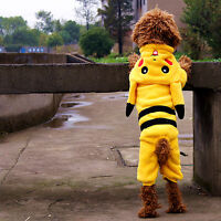 Pet Dog Cat Warm Cute Pokemon GO PIKACHU Clothes Costume 4 Feet Hooded Outfit