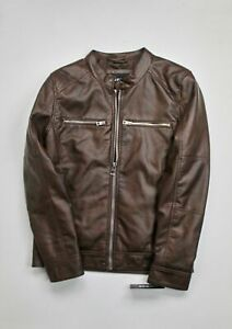 $225 GUESS Men's Faux-Leather Motorcycle Jacket Med Brown NO HOOD