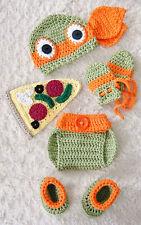Newborn TMNT Inspired Ninja Turtles Michelangelo Crochet Baby 6 Piece Set