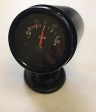 52mm Waterproof Ammeter Amps Gauge 60amp and mounting pod Black face