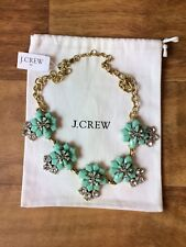 "21-24"" Long Authentic J CREW Mint Green & Crystal Flower Necklace NWT Jewelry"