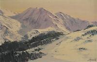 """""""La montagne en hiver"""". Huile sur panneau v682"""