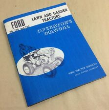 Ford 80 100 120 Lawn & Garden Tractors Operators Owners Manual Kohler
