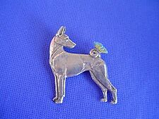 Basenji with Butterfly Pin Pewter #40B Hound dog jewelry by Cindy A. Conter