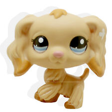 #1716 Littlest Pet Shop Tan Cocker Spaniel Puppy Dog Dipped Blue Eyes LPS Rare