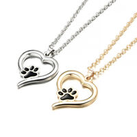Fashion Cute Pets Dogs Footprints Cat Paw Pendant Heart Chain Necklace Jewelry