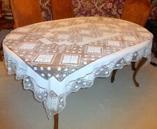"""Gorgeous Antique Hand Made Mondano Netting Lace Linen Tablecloth 75"""" X 55"""""""