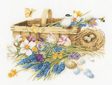 Cross Stitch Kit Lanarte / Bastin Spring Flowers Basket (EVENWEAVE) #PN-0155028