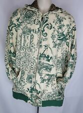 Mens Enyce Graphic Print Hooded Sz XXL Full Zip Long Sleeve Green & Cream EUC