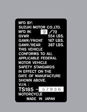 SUZUKI TS185  HEADTUBE TAG  / REPRO DECAL