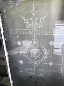 Antique etched glass- Rare and  Cheap  .Delivery organised-3 PIECES.OFFERS ?????