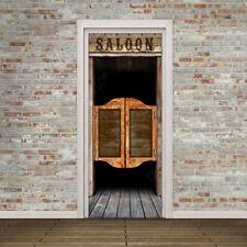 Vinilos para Puertas - Puerta de Bar Viejo Oeste Americano - Adhesivo Removible