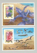 St Vincent (Grenadines) #723-724 Orchids, Expo 90, Birds 2v S/S Imperf Proofs