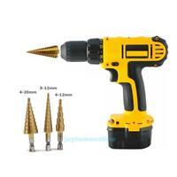 3Pcs Cone Step HSS Titanium Coated Drill Bit Set Metal Hole Cutter Tool 4-20mm