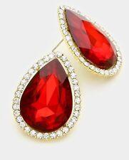 "1.3"" Red Stud Pageant Wedding Rhinestone Crystal Gold Earrings Post Pierced"