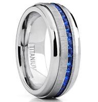 Men's TitaniumSteelBlue Crystals Wedding Anniversary Band Men's Ring M101