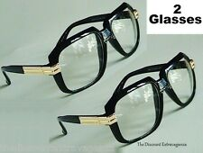 2-Pack Clear Lens Retro Gazelle Style Black Sun Glasses w/ Gold Accents
