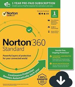 Norton 360 Standard 2020 1 Device PC 1 Yr Secure VPN Internet Security 2021 Box