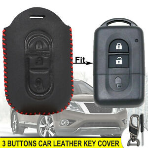 For Nissan Qashqai X-Trail Rogue 3 Buttons Leather Car Key Remote Cover Fob Case