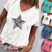 Women Ladies Summer T-shirt Plus Size Star Sequined V Neck Casual Top Blouse