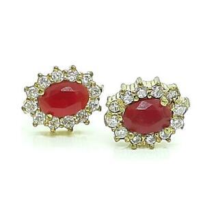 Deco 1.20ctw Ruby & Diamond Cut White Sapphire 14K Yellow Gold 925 Stud Earrings