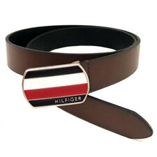 "NEW Genuine TOMMY HILFIGER Brown Logo Buckle Belt Mens Size Large (38-40"")"