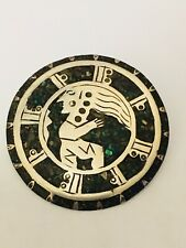 Inlaid Large Brooch Pendant Warrior Vintage Sterling Silver 925 Mexico Turquoise