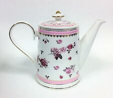 NEW GRACE'S WHITE+PINK+RED ROSE +GOLD TRIM FLORAL PORCELAIN,COFFEE POT,TEAPOT