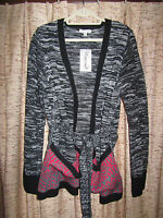 Extra Touch black open front, belted sweater, colorful pockets. Plus size 3X