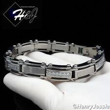 """8.5""""MEN Stainless Steel 9mm Silver ICED CZ & Greek Key Link Chain Bracelet*B96"""