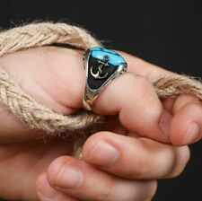 Solid Sterling 925 Silver Handcraft Jewelry Blue Turquoise Anchor Men's Ring