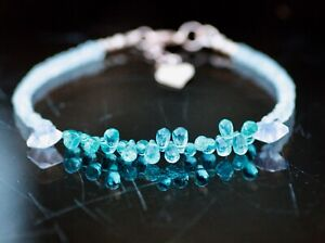 """Natural Green Apatite, Quartz Moonstone Bracelet 14k Rose Gold Filled 7.3"""" - 7.9"""