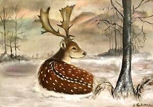 Original Oil Painting. Fallow Deer Stag Snow Winter. Signed. K Eggleston