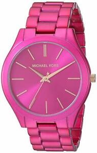 Michael Kors Women's MK4414 Slim Runway Pink Stainless Steel Watch