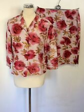 PATSY SEDDON FOR PHASE EIGHT RED/PINK FLORAL PRINT JACKET & SKIRT SUIT SIZE 16