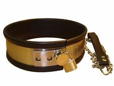 LARGE Rubber trimmed Metal collar with lead  (CO-01-LARGE),  FREE UK DELIVERY