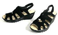 Skechers Memory Foam Women's Black Leather Wedge Platform Sandal Size 8.5M NWOB
