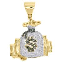 "10K Yellow Gold Green Diamond Money Bag Stacked Coin Pendant 1.45"" Charm 0.92 CT"