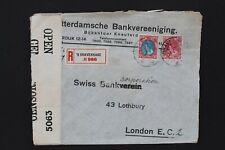 NEDERLAND 1918 Aangetekende, gecensureerde brief met lakstempel naar London