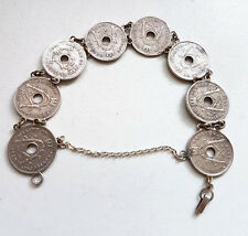 Vintage Belgium 5 Cents Coin Bracelet Sweetheart Trench Art