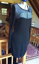 Diane Von Furstenberg DVF Black Sweater Dress Rosita Lace Front Panel Large