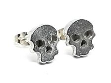 Skull Face Stud Earrings English Pewter Hand Cast Unique Jewellery UK