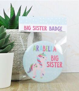 Personalised Unicorn Big Sister Badge
