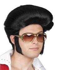 Mens Adults 1950s Rock N Roll Black Elvis Fancy Dress Wig + Sideburns