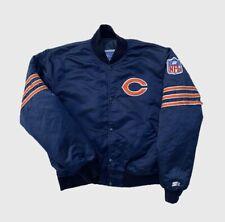 Chicago Bears NFL Official Vintage 1980's Starter Satin Navy Bomber Jacket M