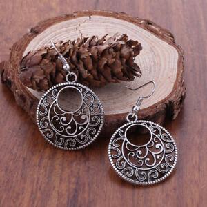 Round Silver Dangle Earrings Ethnic Tribal Aztec Hippy Boho Indian Tibetan