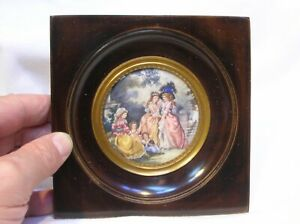 19TH C. FRENCH MINIATURE WITH FIGURES IN PARK SETTING - SIGNED - NICE