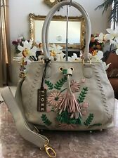 NWT Fiore By Isabella Fiore Ivory Floral Embroidered Leather Bag MSRP $598